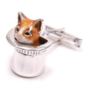 カフスボタン カフリンクス 帽子 猫 はちわれ 茶 シルバー925 サツルノ|entiere|02