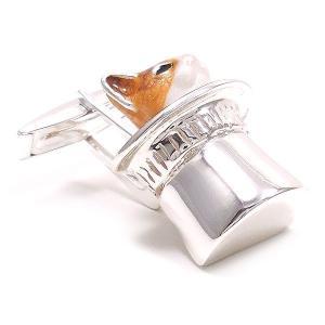 カフスボタン カフリンクス 帽子 猫 はちわれ 茶 シルバー925 サツルノ|entiere|04