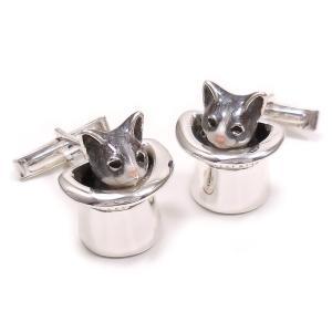 カフスボタン カフリンクス 帽子 猫 はちわれ 灰 シルバー925 サツルノ|entiere