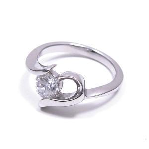 ピンキーリング 指輪 レディース 一粒キュービック ハート 5号 シルバー925 entiere