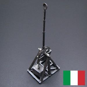 ダ・ヴィンチ:投石器(カタパルト)スケッチの銀細工・置き物(おもり式) イタリア製|entiere