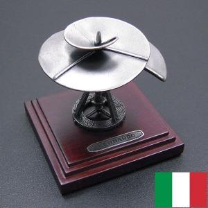 ダ・ヴィンチ:ヘリコプター(エアリアルスクリュー)スケッチの銀細工・置き物 イタリア製|entiere