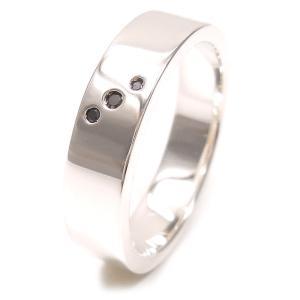 リング 指輪 シルバー925 3ストーンブラックダイヤ 17号 メンズ|entiere
