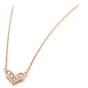 ネックレス レディース 小さなハート ペンダント ダイヤモンド シルバー925 ピンクゴールドメッキ|entiere