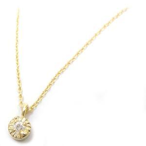 ネックレス レディース 小さな丸型トップ ダイヤモンド シルバー925 イエローゴールドメッキ|entiere