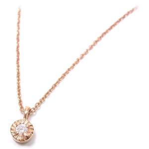 ネックレス レディース 小さな丸型トップ ダイヤモンド シルバー925 ピンクゴールドメッキ|entiere