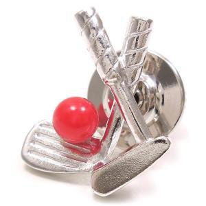 ピンブローチ ラペルピン ゴルフクラブ ボール コーラル シルバー925|entiere