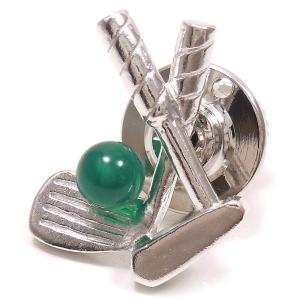 ピンブローチ ラペルピン ゴルフクラブ ボール グリーンアゲート シルバー925|entiere