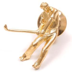 ピンブローチ ラペルピン ゴルファー シルバー925 ゴールドカラー|entiere