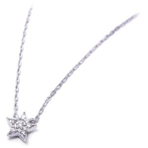 ネックレス レディース 星 ペンダント ダイヤモンド シルバー925|entiere