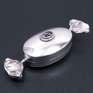 ピルケース シルバー925 小物入れ キャンディー型 だ円型 アメジスト|entiere