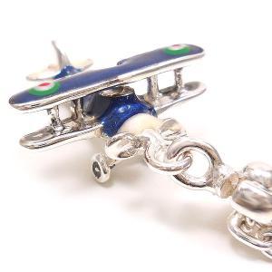 シルバーキーホルダー 飛行機 複葉戦闘機 ブルー サツルノ entiere 02