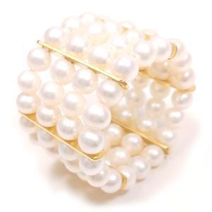 リング 指輪 レディース 伸縮式 淡水パール 4連 15〜17号 シルバー925 ゴールドカラー entiere