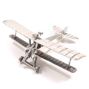 置き物 オブジェ シルバー925 複葉戦闘機|entiere