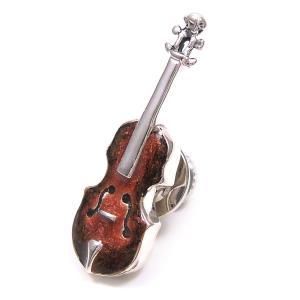 ピンブローチ ラペルピン シルバー925 楽器 バイオリン エナメルあり イタリア製 サツルノ メンズ レディース プレゼント ギフト|entiere