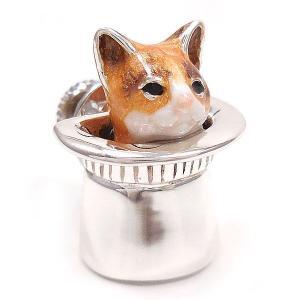 ピンブローチ ラペルピン 帽子 ネコ はちわれ 茶 シルバー925 サツルノ|entiere|02