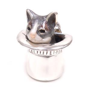 ピンブローチ ラペルピン 帽子 ネコ はちわれ 灰 シルバー925 サツルノ|entiere