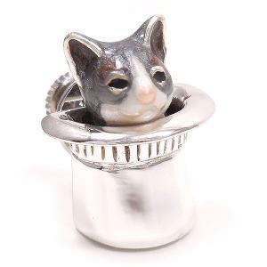 ピンブローチ ラペルピン 帽子 ネコ はちわれ 灰 シルバー925 サツルノ|entiere|02