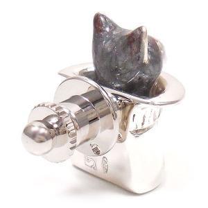 ピンブローチ ラペルピン 帽子 ネコ はちわれ 灰 シルバー925 サツルノ|entiere|03