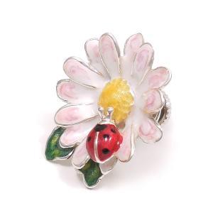 ピンブローチ ラペルピン てんとう虫 花 シルバー925 サツルノ|entiere
