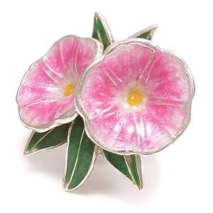 ピンブローチ ラペルピン シルバー925 花 フラワー 朝顔 ピンク イタリア製 サツルノ メンズ レディース|entiere