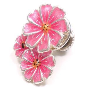 ピンブローチ ラペルピン 花 フラワー コスモス ピンク シルバー925 サツルノ|entiere