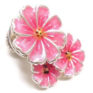 ピンブローチ ラペルピン 花 フラワー コスモス ピンク シルバー925 サツルノ|entiere|02