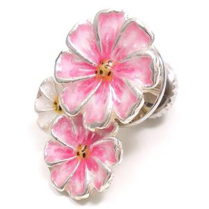 ピンブローチ ラペルピン 花 フラワー コスモス ピンク&白 シルバー925 サツルノ|entiere