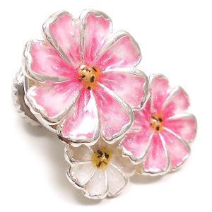 ピンブローチ ラペルピン 花 フラワー コスモス ピンク&白 シルバー925 サツルノ|entiere|02