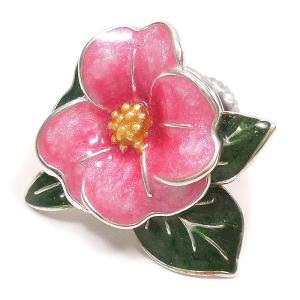ピンブローチ ラペルピン 花 フラワー ツバキ ピンク シルバー925 サツルノ|entiere