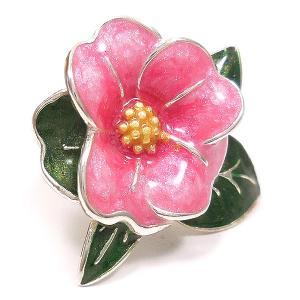 ピンブローチ ラペルピン 花 フラワー ツバキ ピンク シルバー925 サツルノ|entiere|02