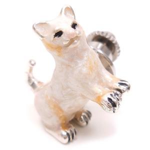ピンブローチ ラペルピン ネコ 白猫 シルバー925 サツルノ|entiere