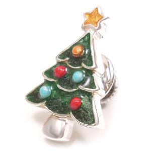 ピンブローチ ラペルピン クリスマスツリー シルバー925 サツルノ|entiere