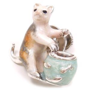 ピンブローチ ラペルピン ネコ 猫 金魚鉢 シルバー925 サツルノ|entiere