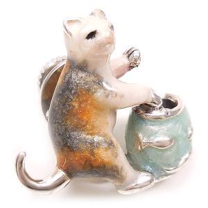 ピンブローチ ラペルピン ネコ 猫 金魚鉢 シルバー925 サツルノ|entiere|02