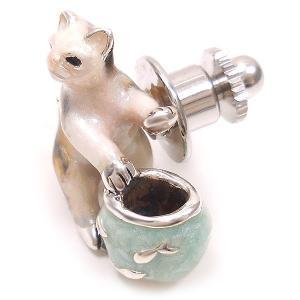ピンブローチ ラペルピン ネコ 猫 金魚鉢 シルバー925 サツルノ|entiere|03