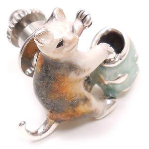 ピンブローチ ラペルピン ネコ 猫 金魚鉢 シルバー925 サツルノ|entiere|04