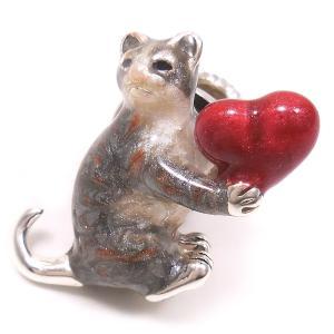 ピンブローチ ラペルピン ネコ 猫 ハート シルバー925 サツルノ|entiere
