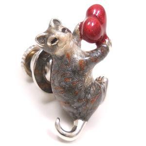 ピンブローチ ラペルピン ネコ 猫 ハート シルバー925 サツルノ|entiere|02