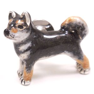 ピンブローチ ラペルピン 柴犬 黒柴 シルバー925 サツルノ|entiere