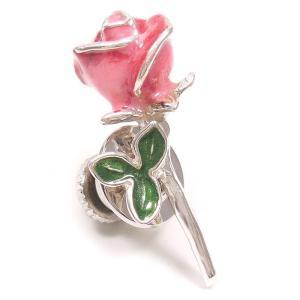 ピンブローチ ラペルピン 花 フラワー バラ ピンク シルバー925 サツルノ|entiere