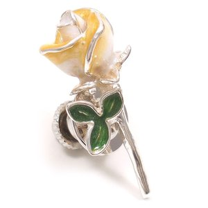 ピンブローチ ラペルピン 花 フラワー バラ 白 シルバー925 サツルノ|entiere