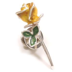 ピンブローチ ラペルピン 花 フラワー バラ 黄色 シルバー925 サツルノ|entiere