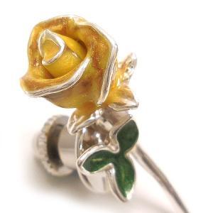 ピンブローチ ラペルピン 花 フラワー バラ 黄色 シルバー925 サツルノ|entiere|02