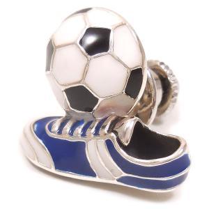 ピンブローチ ラペルピン サッカーボール スパイク ブルー シルバー925 サツルノ|entiere