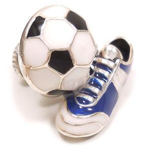 ピンブローチ ラペルピン サッカーボール スパイク ブルー シルバー925 サツルノ|entiere|02