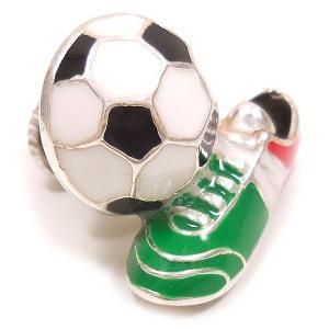 ピンブローチ ラペルピン サッカーボール スパイク イタリアカラー シルバー925 サツルノ|entiere|02