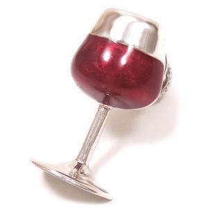 ピンブローチ ラペルピン ワイングラス エナメル彩色 シルバー925 サツルノ|entiere