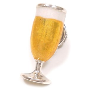 ピンブローチ ラペルピン ビールグラス エナメル彩色 シルバー925 サツルノ|entiere
