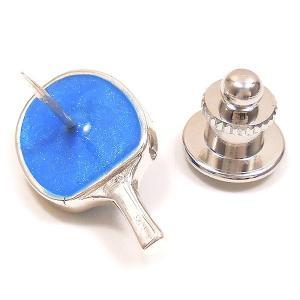 ピンブローチ ラペルピン 卓球 ラケット ブルー エナメル彩色 シルバー925 サツルノ entiere 04